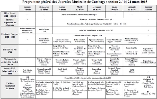 programme JMC2015