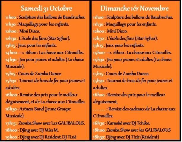 programme halloween 2