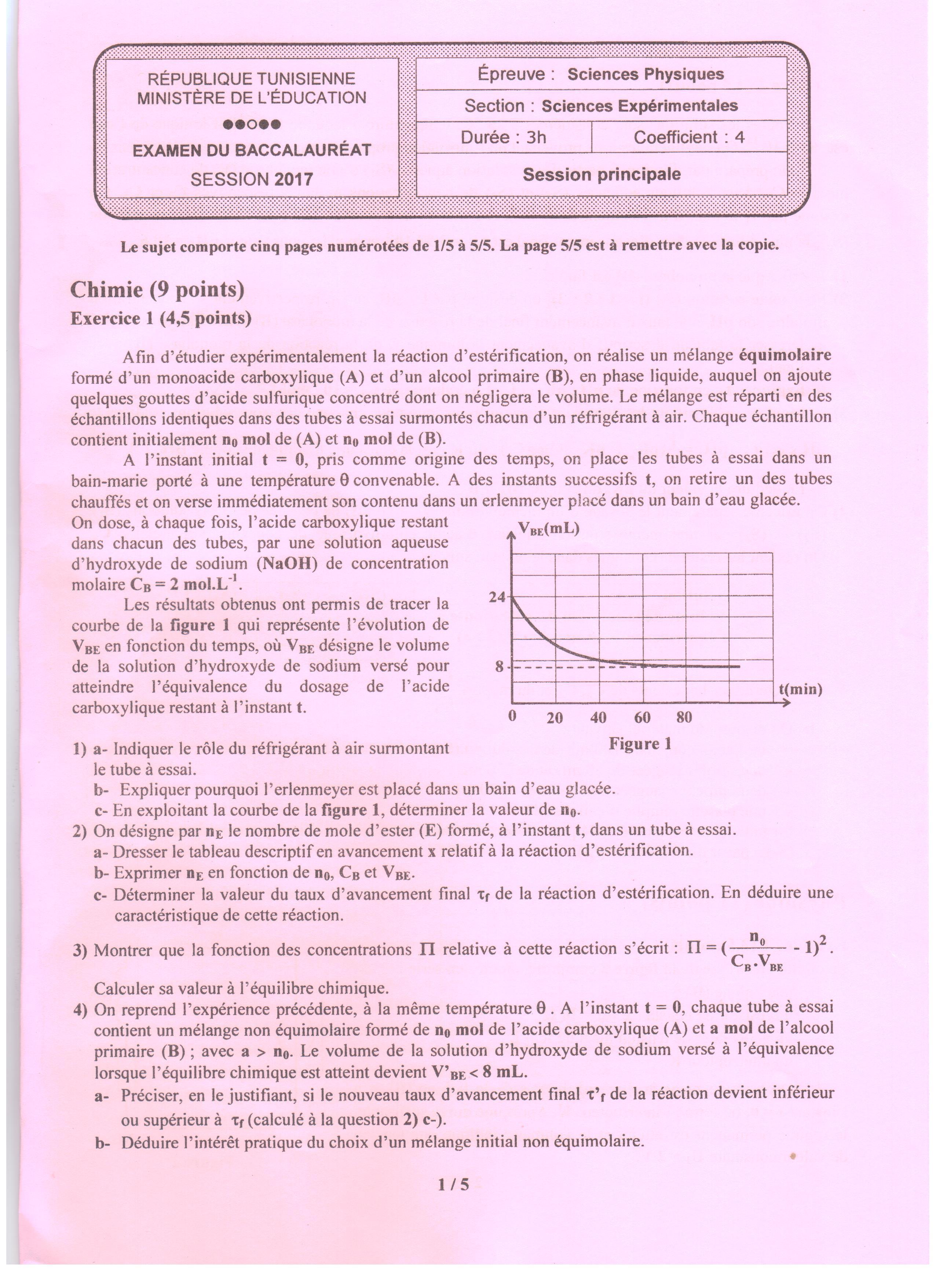 tunisie bac 2017 preuve physique pour les sections maths sciences et techniques - Resume Cours Science Bac Tunisie