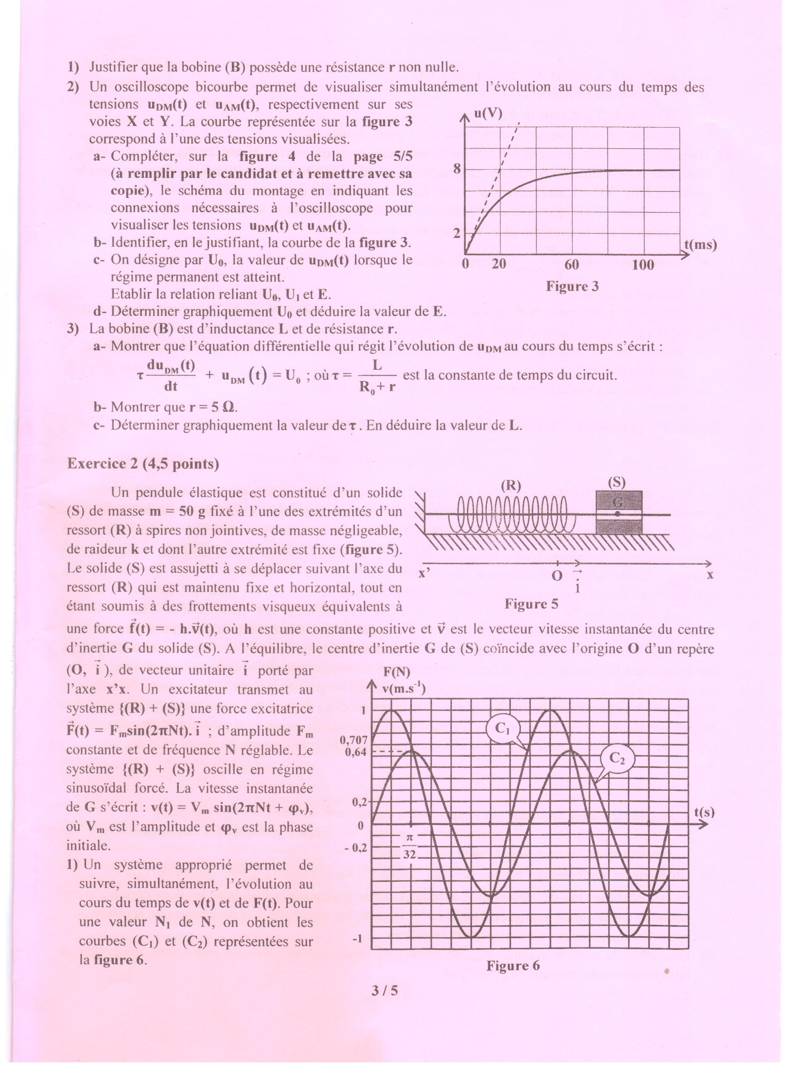 Tunisie Bac 2017 Epreuve Physique Pour Les Sections Maths