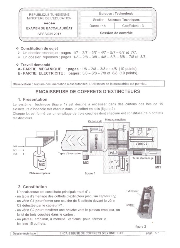 tunisie bac 2017 session de contr le jour 1 preuves. Black Bedroom Furniture Sets. Home Design Ideas