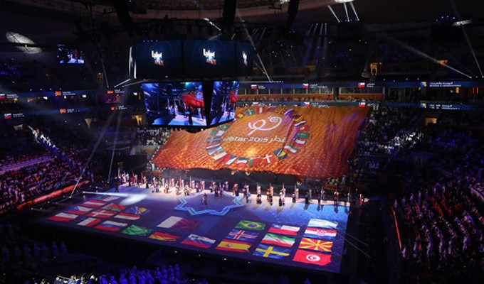 la grandiose ouverture du mondial de handball qatar 2015 en photos tekiano tek 39 n 39 kult. Black Bedroom Furniture Sets. Home Design Ideas