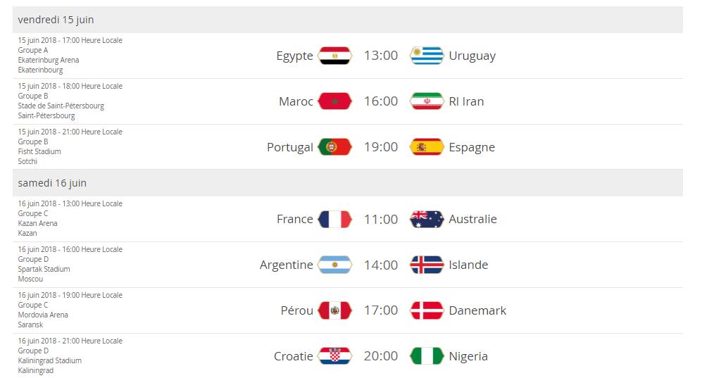 Date match mondial
