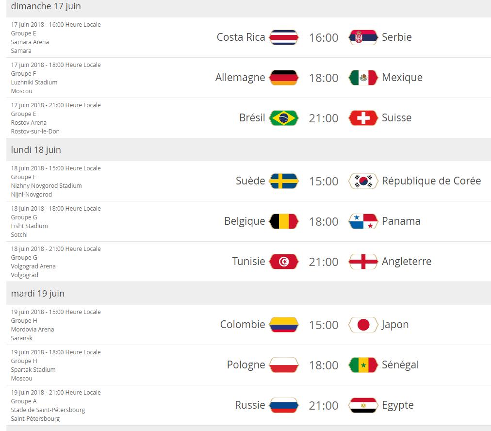 Mondial Russie 2018 Programme Complet Des Matchs Du 1er